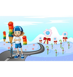 A girl and her bike at the street with sweets vector image vector image