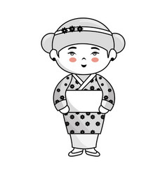Cute japanese girl character vector