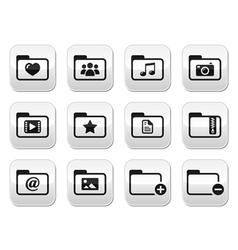 Folder documents music film buttons set vector image