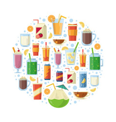 non alcoholic drinks in circle shape vector image