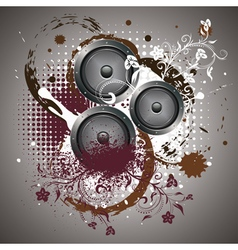 Sound Speaker with Floral3 vector image vector image
