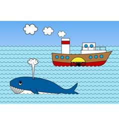 Steamship on sea vector image