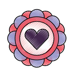 sticker with heart icon vector image