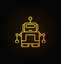 yellow robot with antenna icon in thin line vector image vector image