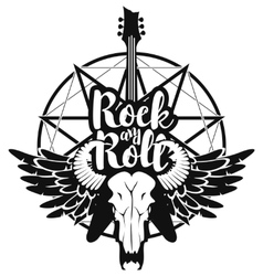 electric guitar and skull of goat vector image