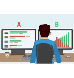 man at workplace with two monitors vector image