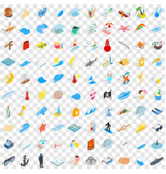 100 sea life icons set isometric 3d style vector image vector image