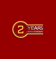 2 years anniversary golden and silver color vector
