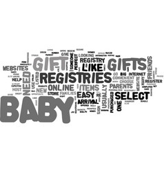 a guide to baby gift registries text word cloud vector image vector image