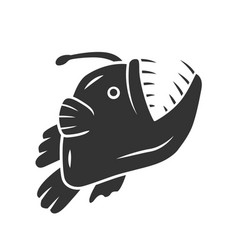 Anglerfish glyph icon swimming goosefish vector