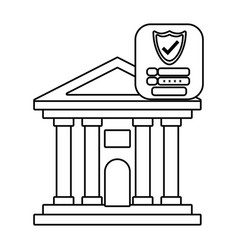 Bank building front security black and white vector