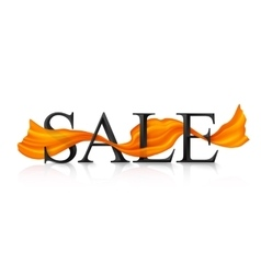 Black SALE sign with orange silky ribbon vector