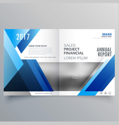 blue business bi fold brochure design template vector image