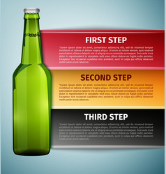 Bottle beer infographics icon isolated on blue vector