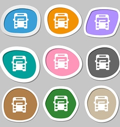 Bus icon symbols Multicolored paper stickers vector
