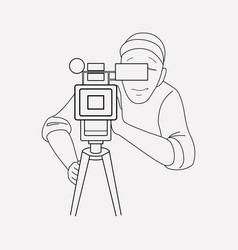 camera man icon line element vector image