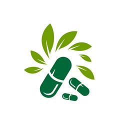 capsules and herbal leaf design vector image