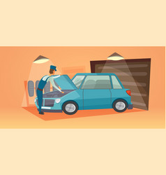 Car repair workers in car vector