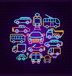 car transport neon concept vector image