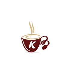 Coffee cup restaurant letter k vector