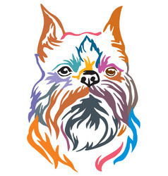 Colorful decorative portrait of dog brussels vector