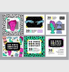 Colourful cards with acid ancient sculpture set vector