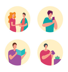 Communicate with family talk on phone read vector