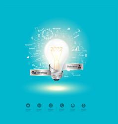 Creative light bulb idea 2022 new year vector