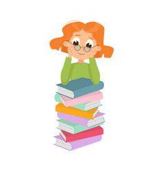 Cute intelligent girl in glasses sitting on pile vector