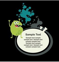 Cute monster microbe and banner with bone vector image