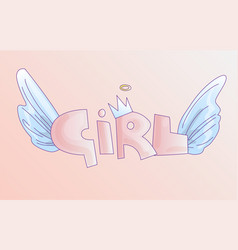 cute word girl in soft pastel colors cartoon vector image