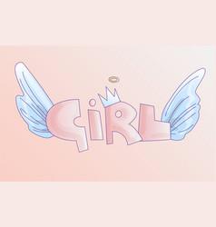Cute word girl in soft pastel colors cartoon vector
