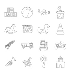 Different kids toys icons set outline style vector