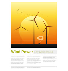 Energy concept background with wind turbine 21 vector