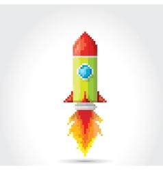 Flat pixel rocket on white background vector