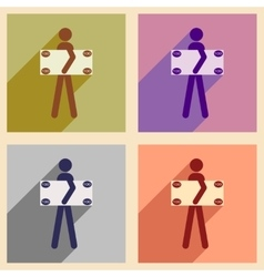 Flat with shadow concept icon People and dollar vector image