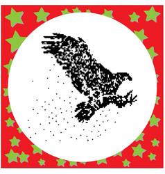 flying eagle black 8-bit dog standing vector image