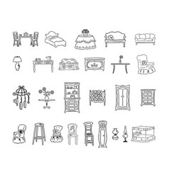 furniture set outlined cartoon handrawn sketch vector image