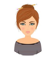 girl avatar cartoonstock vector image vector image