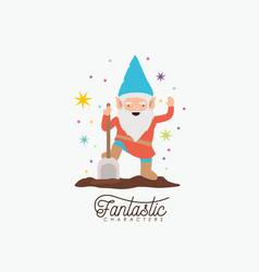 gnome fantastic character with shovel and colorful vector image