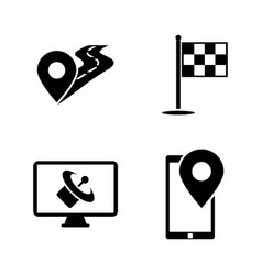 Gps simple related icons vector
