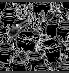 graphic pattern honey and floral decorations vector image