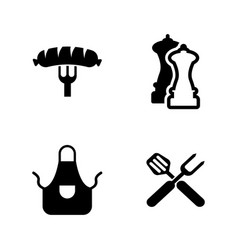 grilling simple related icons vector image