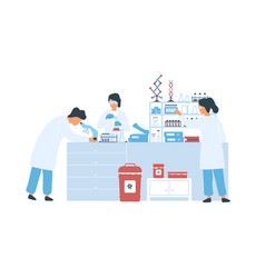 Group scientists in white coat working in vector