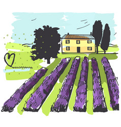hand drawn landscape provence house vector image