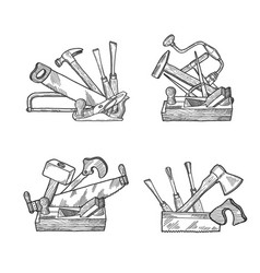 hand drawn woodwork tools set vector image