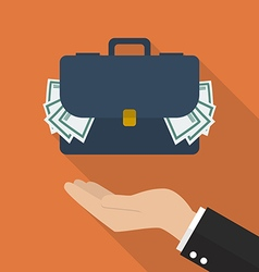 Hand with briefcase full of money vector image