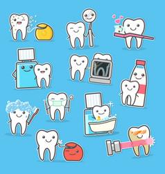 Healthy teeth care treatment and hygiene cartoon vector