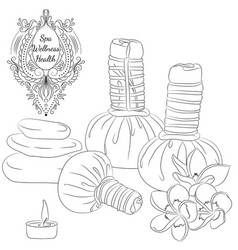 herbal pouches line art vector image