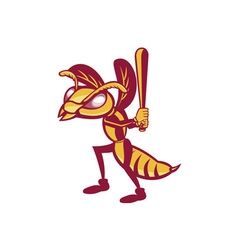Hornet Baseball Player Batting Isolated Retro vector